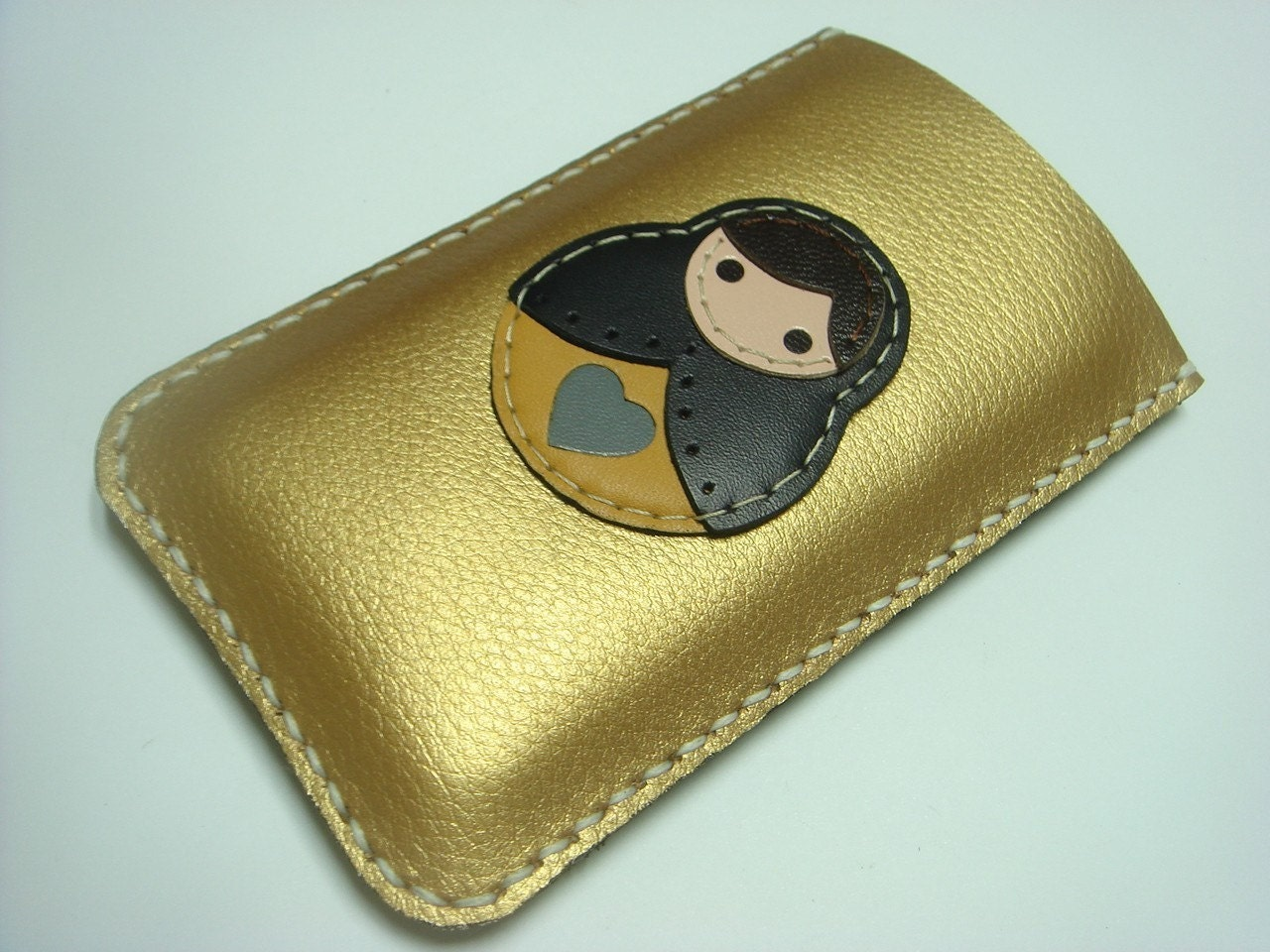Lisa the Russian Doll Iphone Leather Case ( Gold / Black )