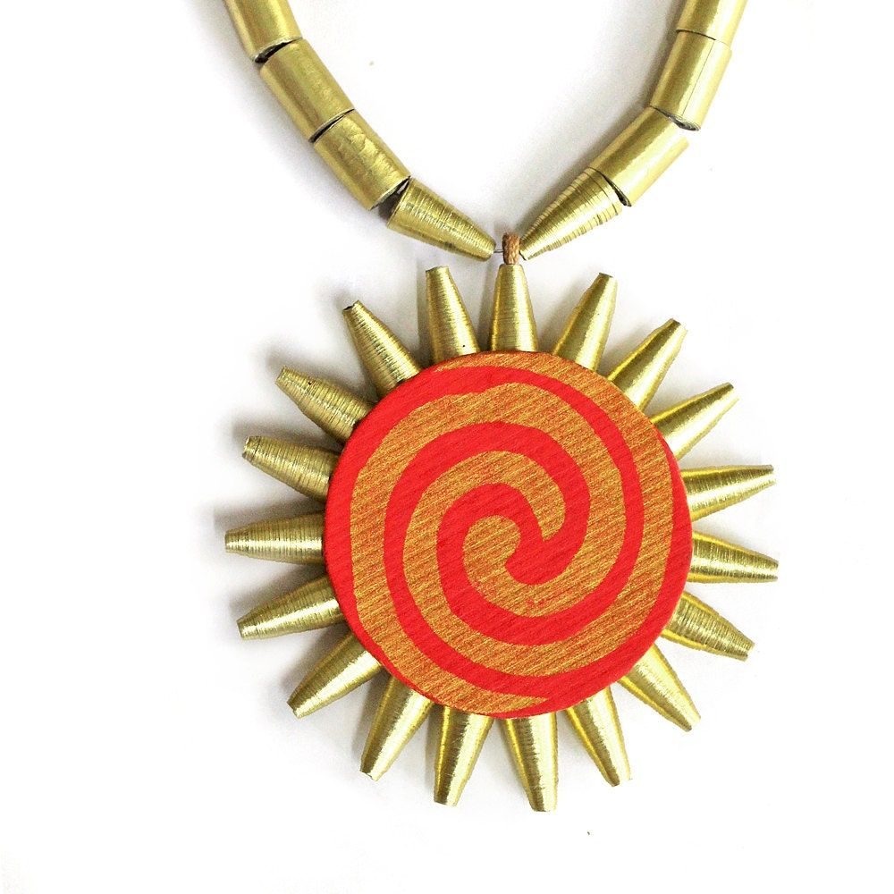 Sun Pendant Necklace Paper Jewellery Indian By Papermelon