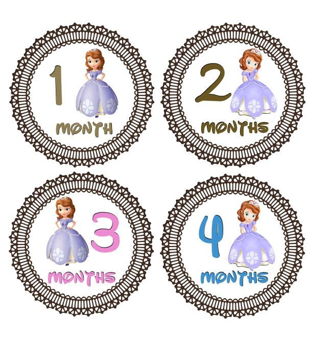 Monthly Onesie Stickers Girl Princesses Disney By Snappitysnap