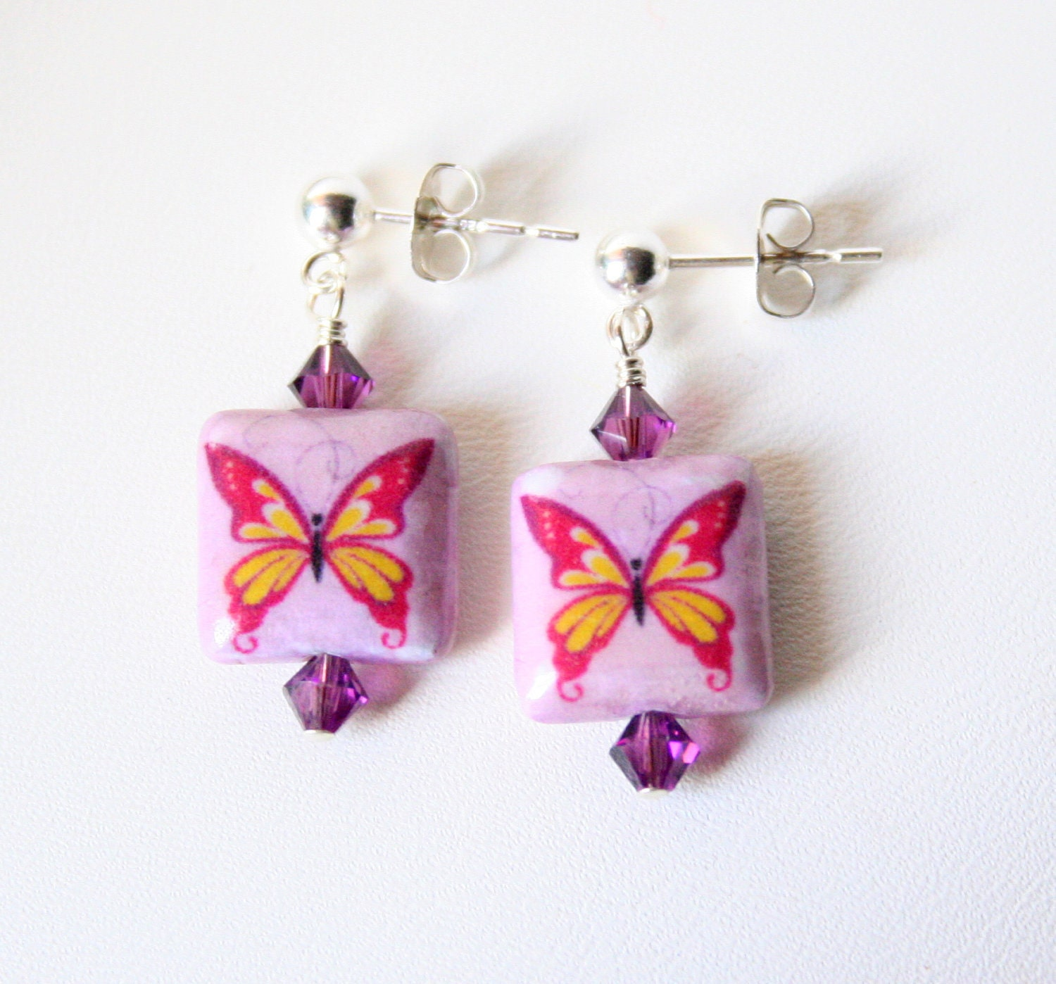 Purple Mariposa Petite Eco Earrings