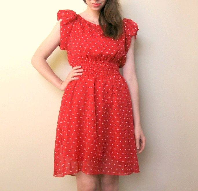Puff-Sleeve Tiny Hearts Dress