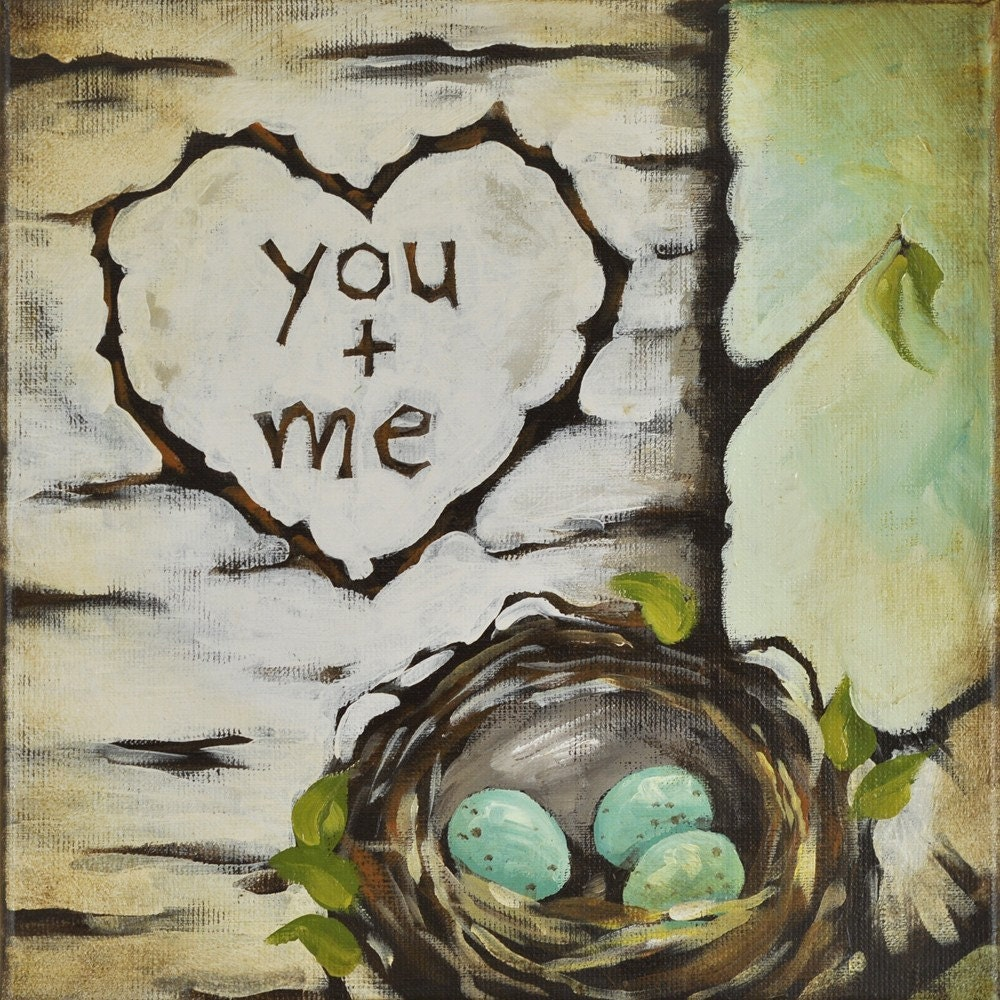 You and Me -  Love Nest Painting - Perfect for Anniversay, Husband or Baby