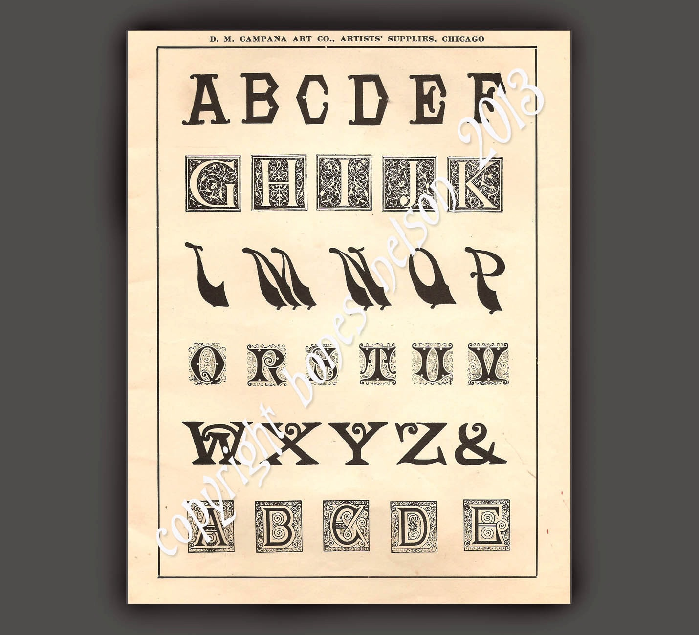 Items similar to vintage alphabet instant download gothic