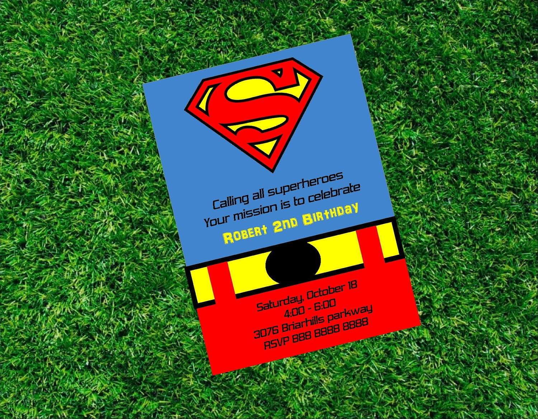 Superman Birthday Printable Invitation Super Heroe by ...