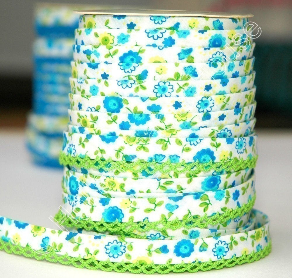 Bias Tape - Green Floral Cotton and Lace Double Fold