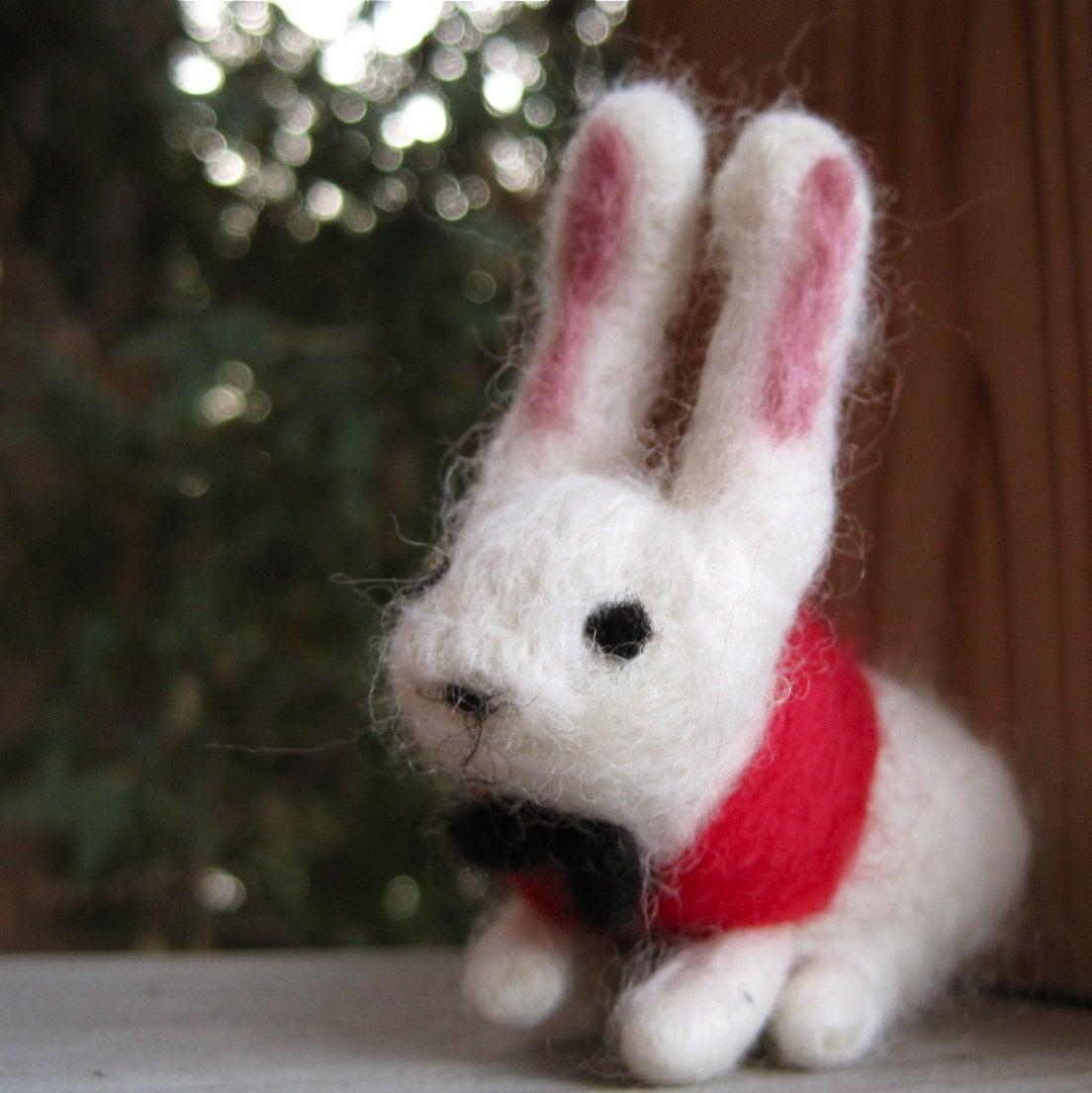 needle felted white rabbit / waldorf miniature from alice in wonderland