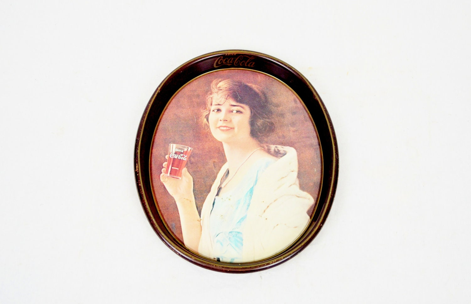 1973 Coca-Cola Tray With Girl Drinking Coke - LuccaBalesVintage