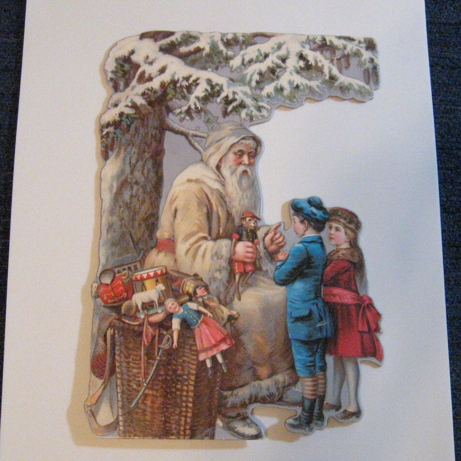 Victorian Father Christmas Decorations: Victorian Repro Die Cut Santa With Children Father By