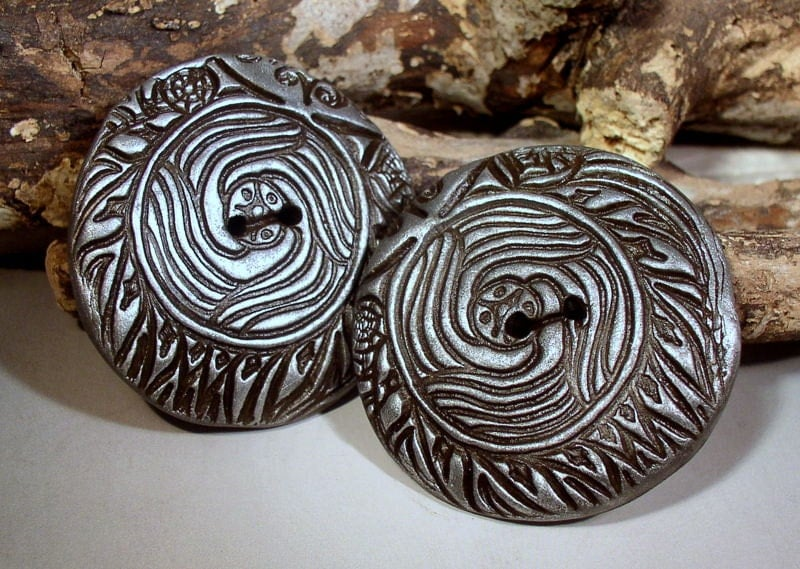 Pair Of Art Focal Buttons-Pewter-Textured