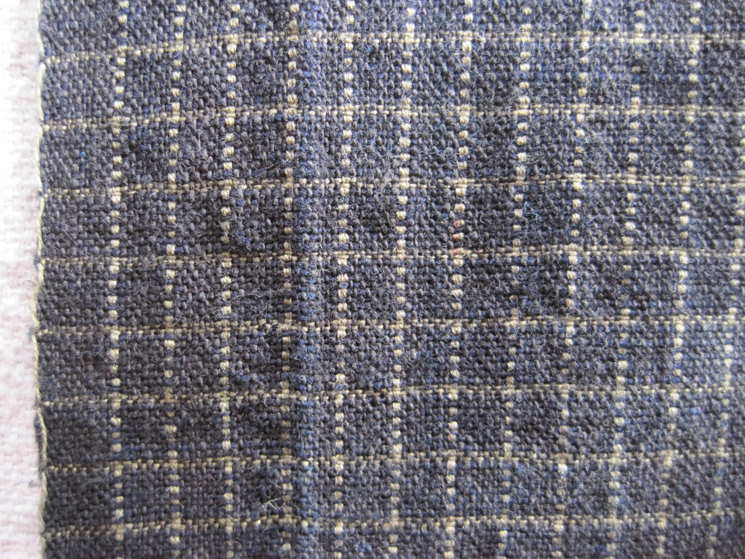 Antique Japanese handwoven indigo dyed plaid cotton by ...