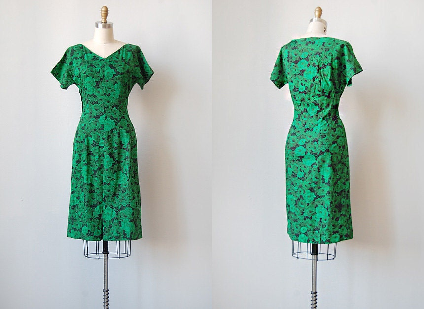 vintage 1960s green rose wiggle dress | GAINSBOROUGH GARDEN DRESS