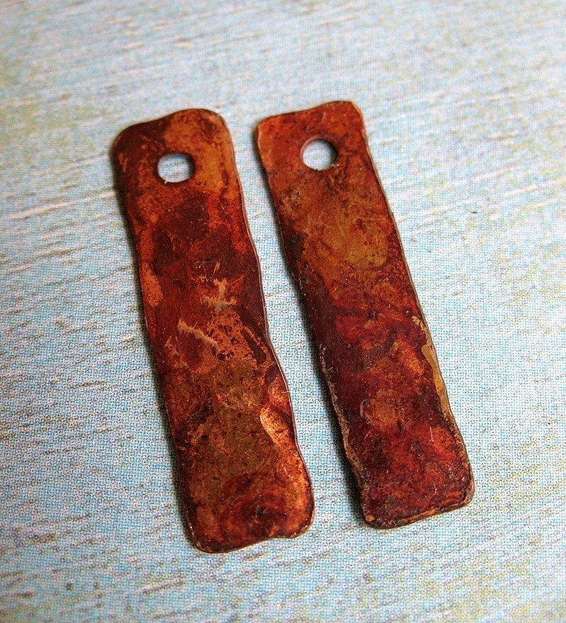 Ember Rectangles - Patinated Copper Charms