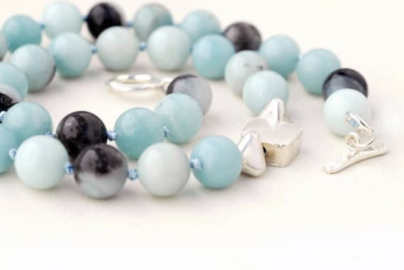 Sky Blue Grey Amazonite Necklace, Sterling Silver Statement Necklace, Blue Jewelry, Fine Jewelry, Classy Necklace, Santorini Jewelry - SunSanJewelry