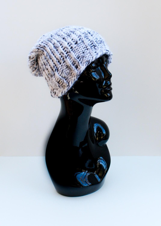 Adult size, Unisex slouchy beanie, knit,women, men, white, gray and black. Christmas prestent. - SweetBabyJamesShop