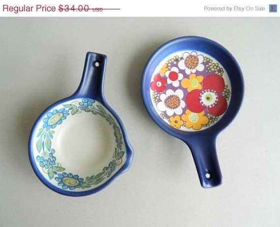 SALE Pair of Figgjo Norway Flameware Turi Design Saute Baking Dishes - MonkiVintage