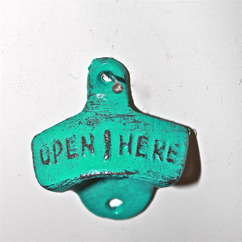 Bottle Opener /Teal Blue /Cast Iron /Vintage /Kitchen Decor/ Metal/Wall Decor /Retro /Mancave - AquaXpressions