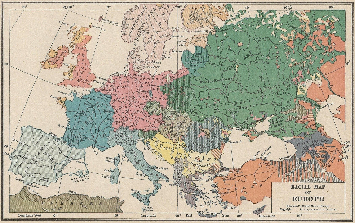 Vintage 1927 Map, RACIAL MAP OF EUROPE