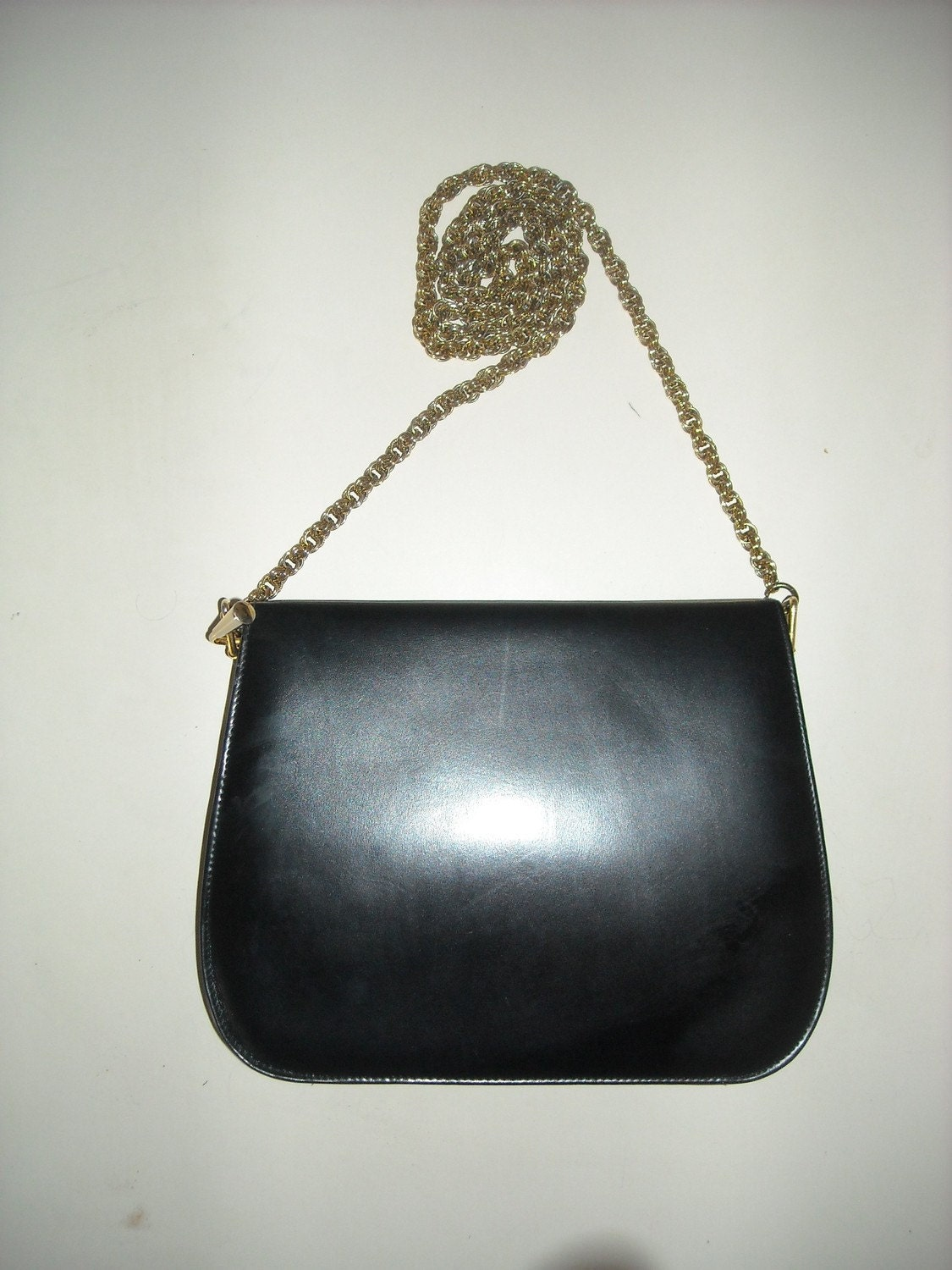 Vtg 60s Black Leather Kelly Bag Lampon Purse Lipstick Red Leather Inside