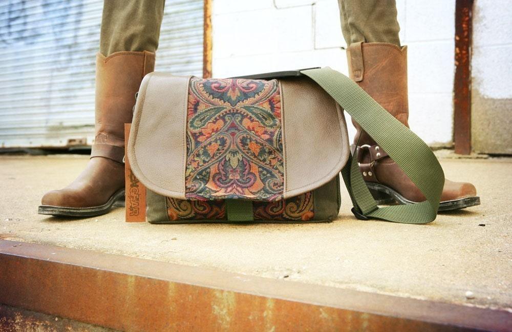 Pre-Order - New Design - Blue Tapestry and Leather DSLR Camera Bag