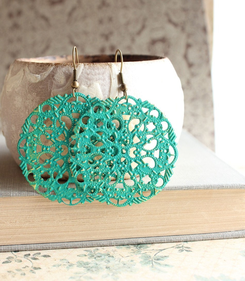 Filigree Earrings, Teal Green, Turquoise, Teal Dangle Earrings, Lace Lacy Pattern, Spring, Patina Jewelry, Boho Chic, Long Earrings - apocketofposies