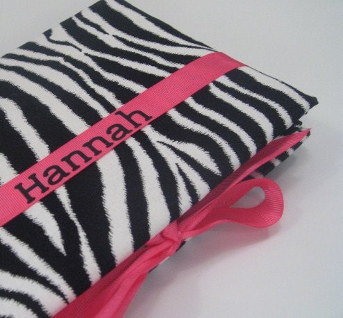 Girl Baby memory book scrapbook personalized name hot pink zebra stripes