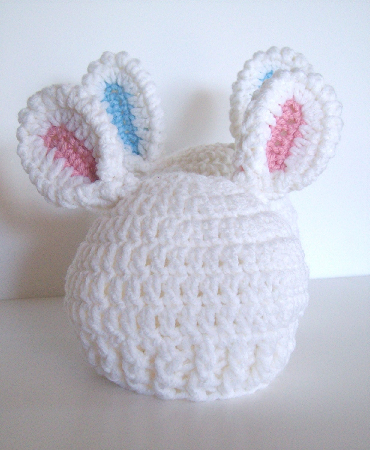 Crochet White Bunny Ears Hat - Bunny Ears Baby Hat - Size 6 - 12 months... Choice of White with Blue or Pink Ears Crochet White Bunny Hat - puddintoes