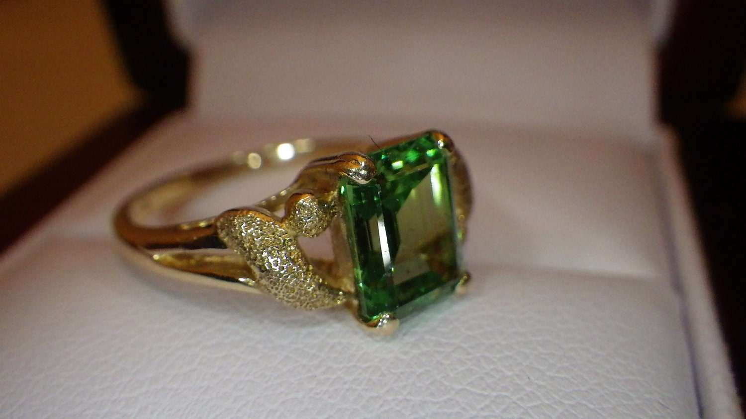 emerald cut ring 3 75ct chrome diopside ring by