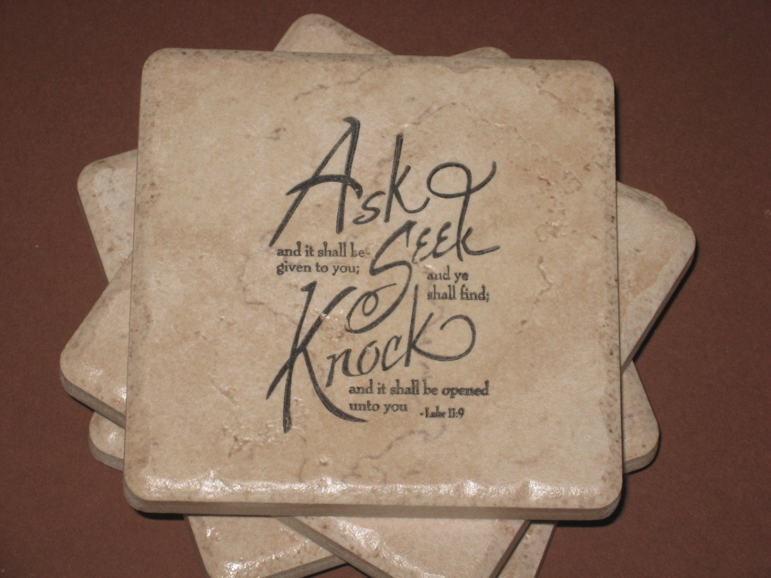 scripture tile coasters ask seek knock