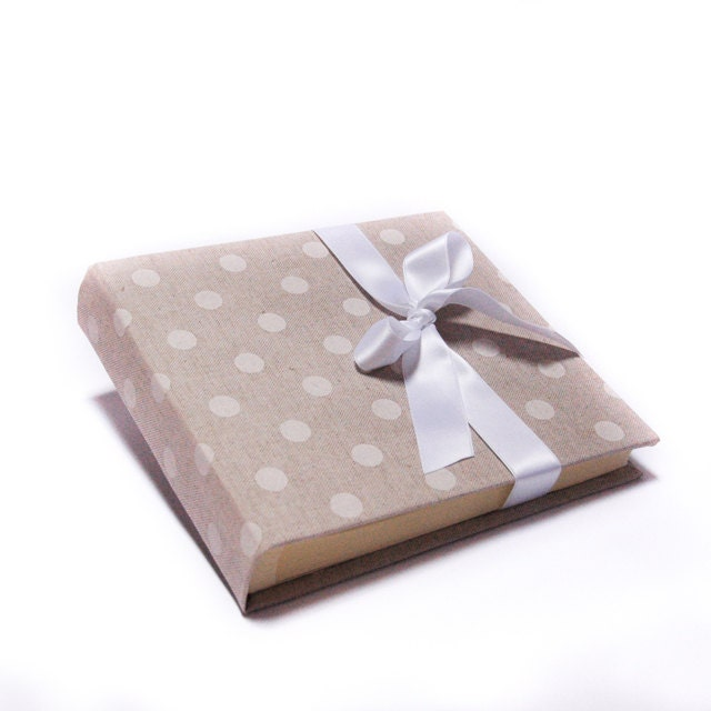 Linen photo album white polka dots - sadilla