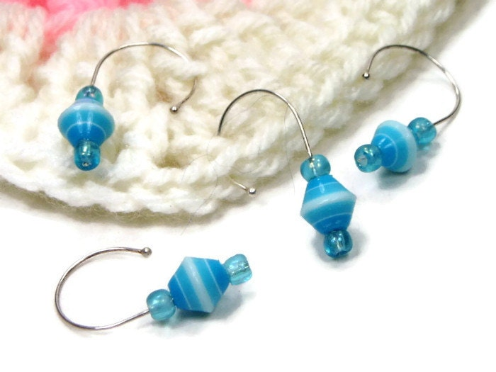 Crochet Stitch Markers Diy : Stitch Markers Set, Crochet, Snag Free, Beaded, Blue, White, DIY ...