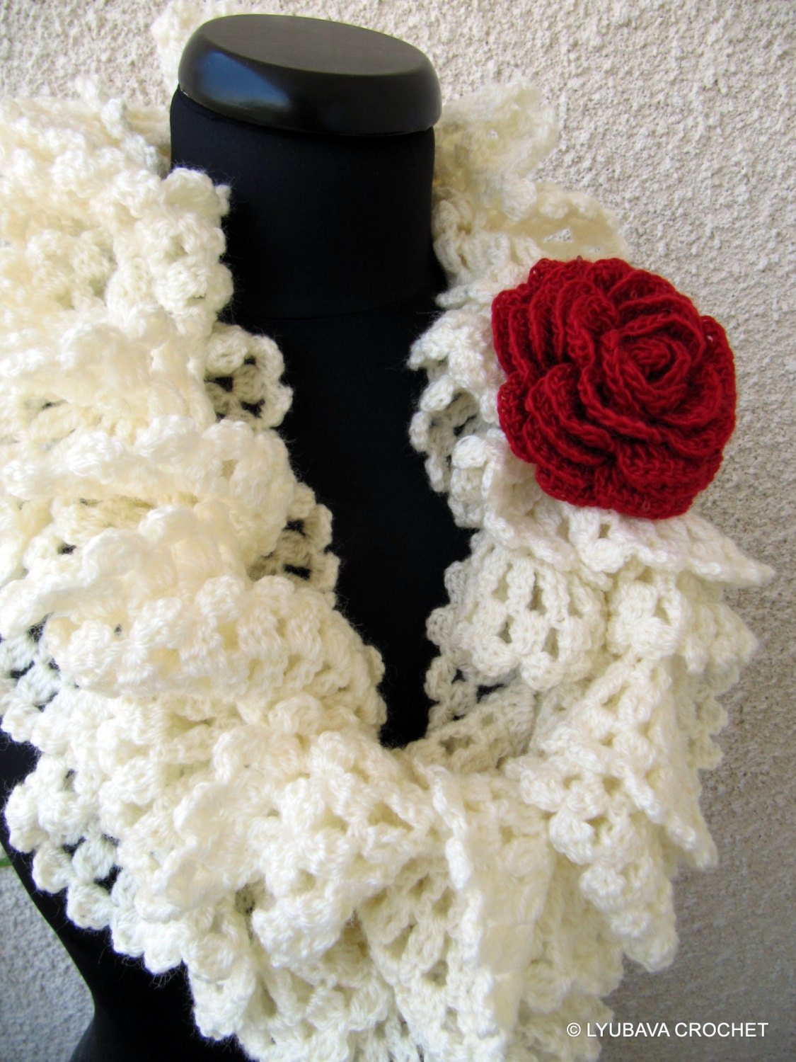 Items similar to Ruffle Crochet Scarf, Christmas Crochet ...