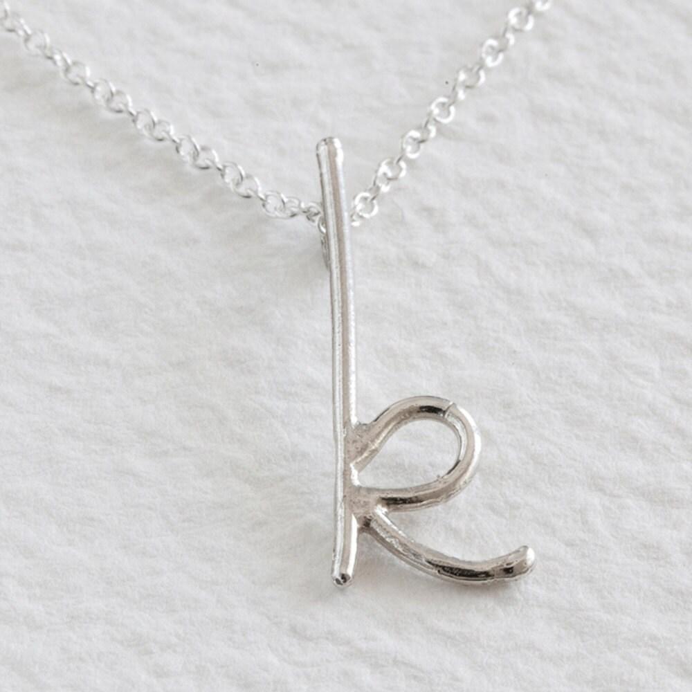 sterling silver handwritten initial pendant - k
