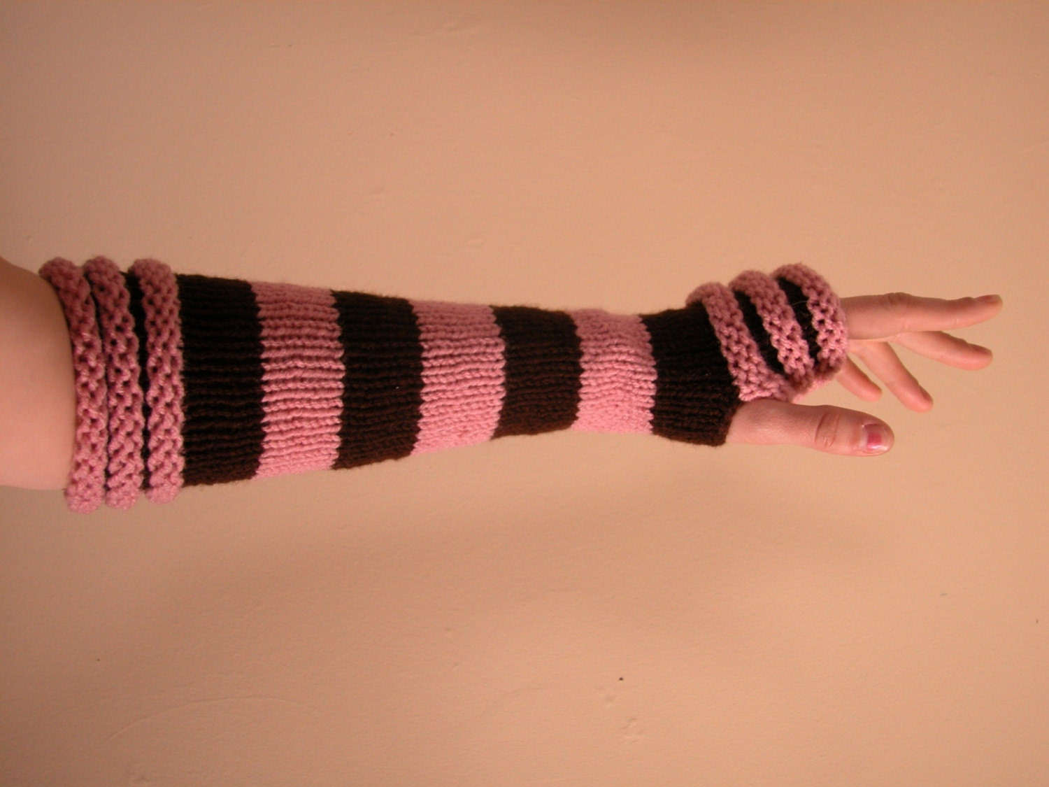 Pink  and Chocolate Brown Arm Warmers / Fingerless Gloves