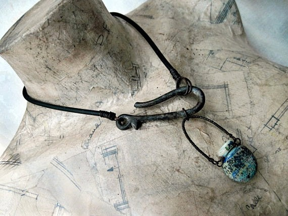 My Soul from Elsewhere. Lampwork Vial Bottle Talisman Choker.