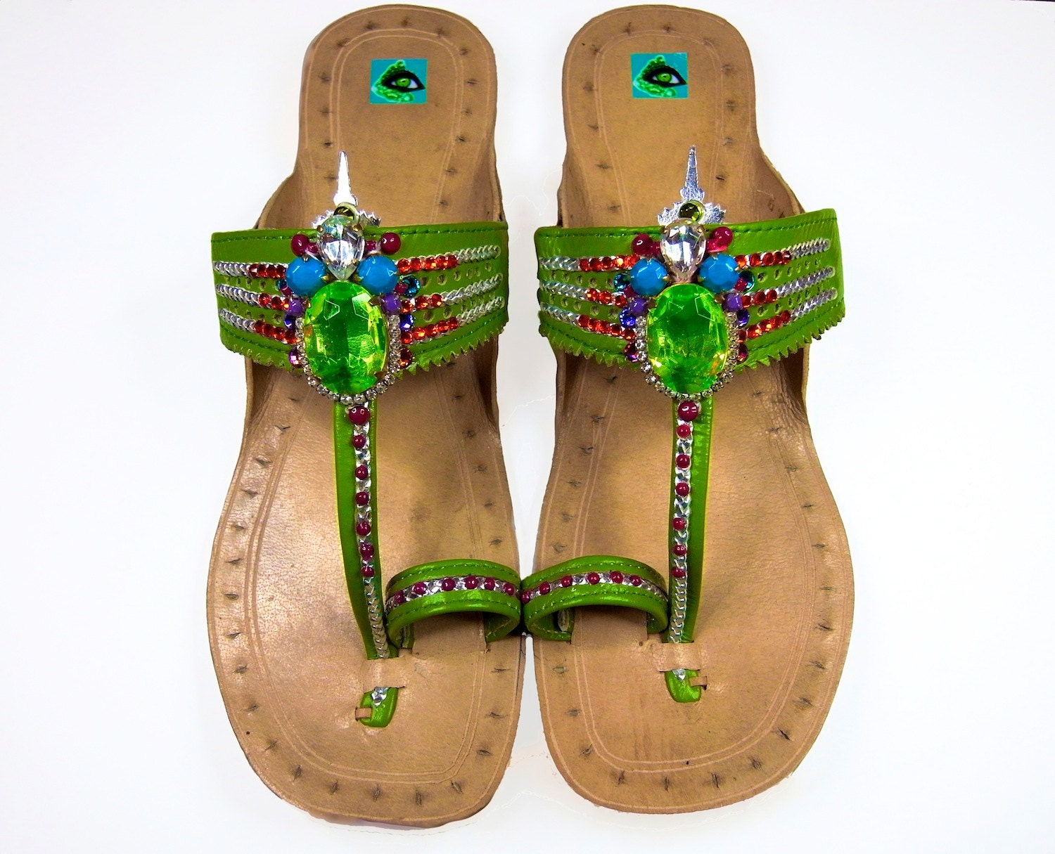 SALE - 15% OFF Paradise Carnivàle - Olivine Green Leather Vintage Embellished Ibiza Sandals - GreenEyeRocks