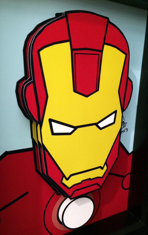 iron man comic art 3d pop art superhero comic book by. Black Bedroom Furniture Sets. Home Design Ideas