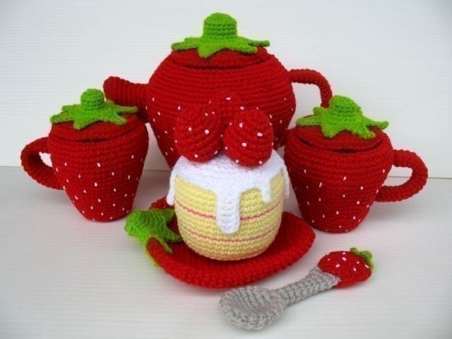 Crochet Pattern - STRAWBERRY TEA SET- Toys - PDF
