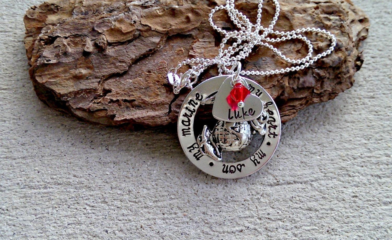 marine mom necklace us marine mom necklace by sweetaspenjewels. Black Bedroom Furniture Sets. Home Design Ideas