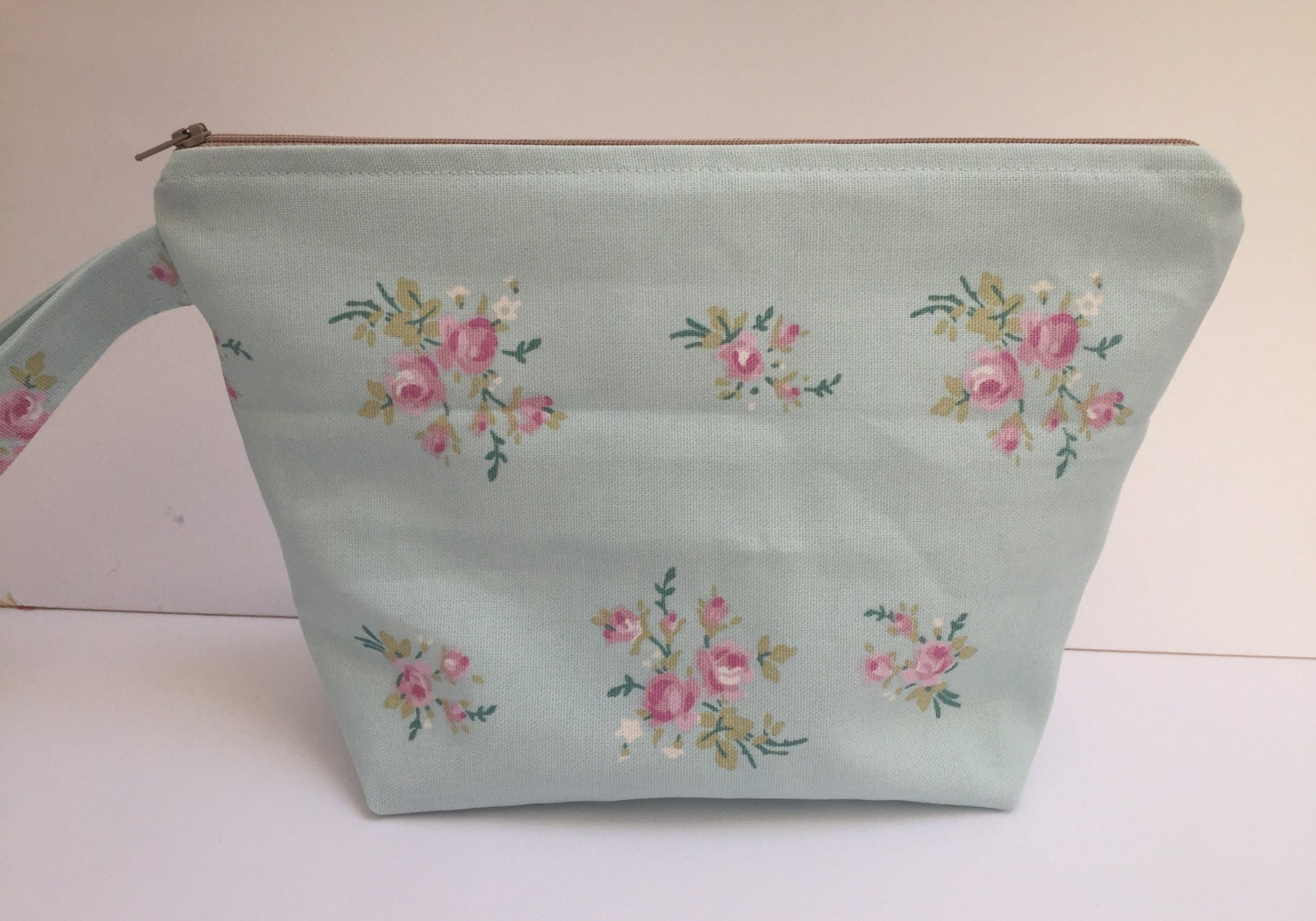 Large Toiletry bag travel bag cosmetics bag made with cotton linen fabric and fully lined with water resistant fabric