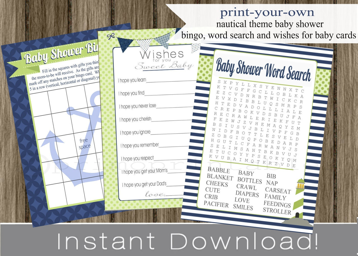 nautical baby shower games bingo wishes for by primoprintables