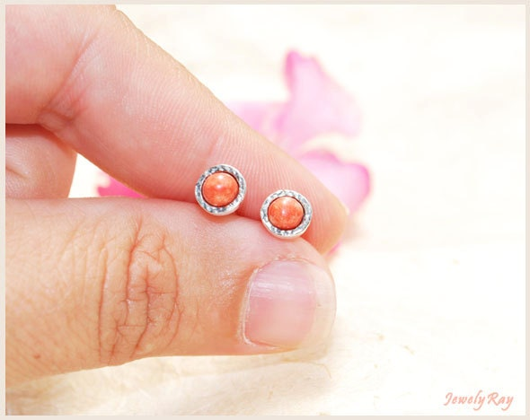JEWELRY ON SALE. pink stud earrings. coral stud earrings. silver stud earrings - JewelyRay