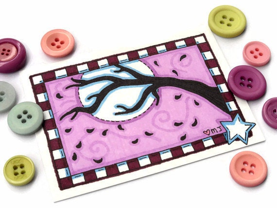 Mini Original Art Card Lavender Moon ACEO