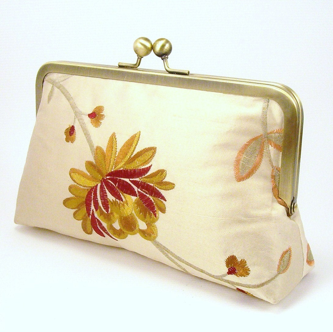 Embroidered Silk Clutch