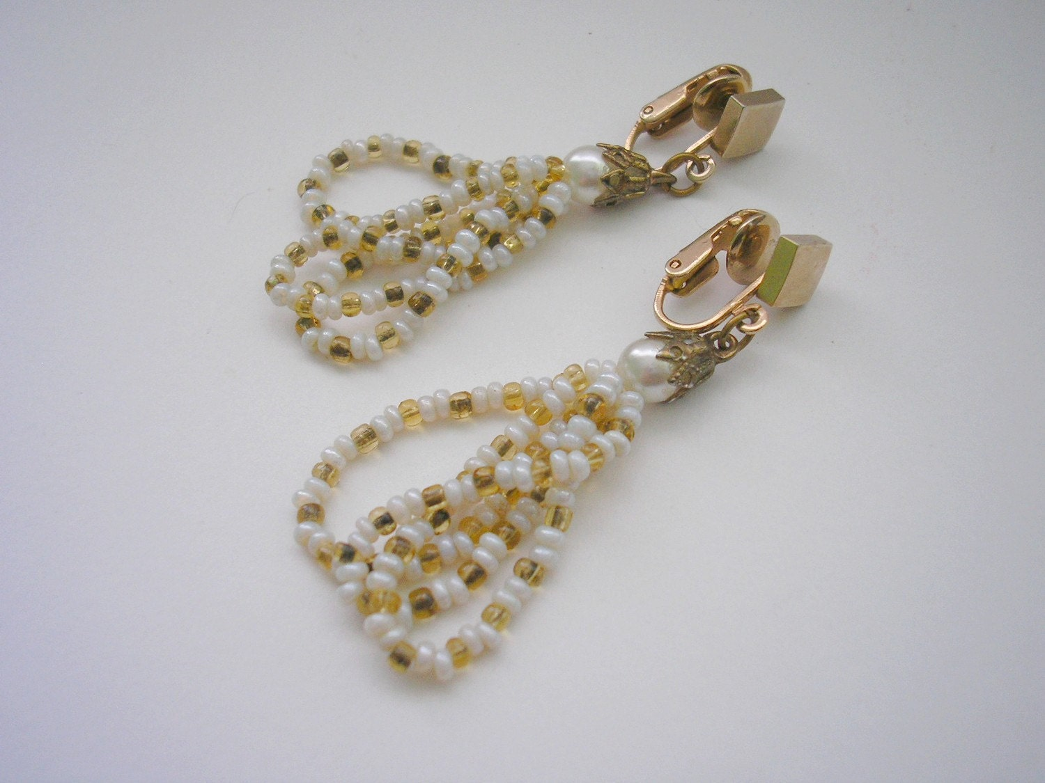Vintage long gold plate bead clip on earring by craftforyou