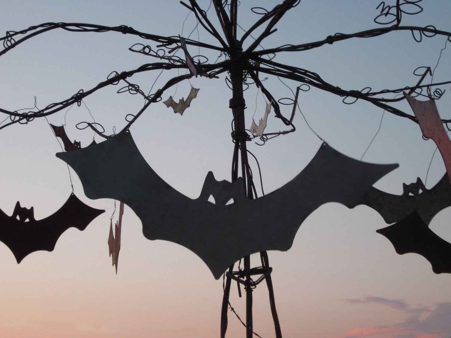 Flying Bat Attack - Handmade Metal Sculpture