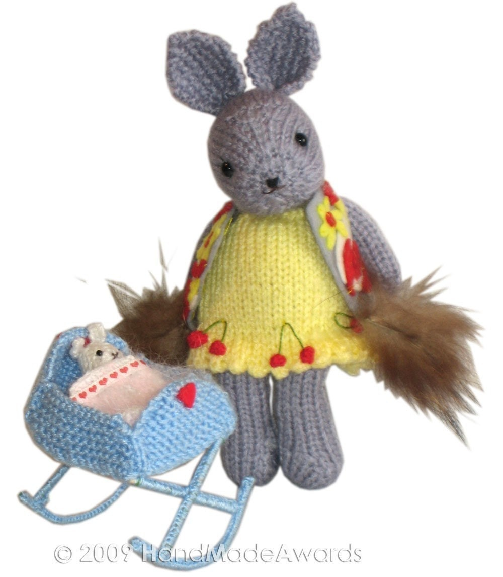 MUMMY  BUNNY with BABY and CRADLE Pdf EMAIL KNIT PATTERN