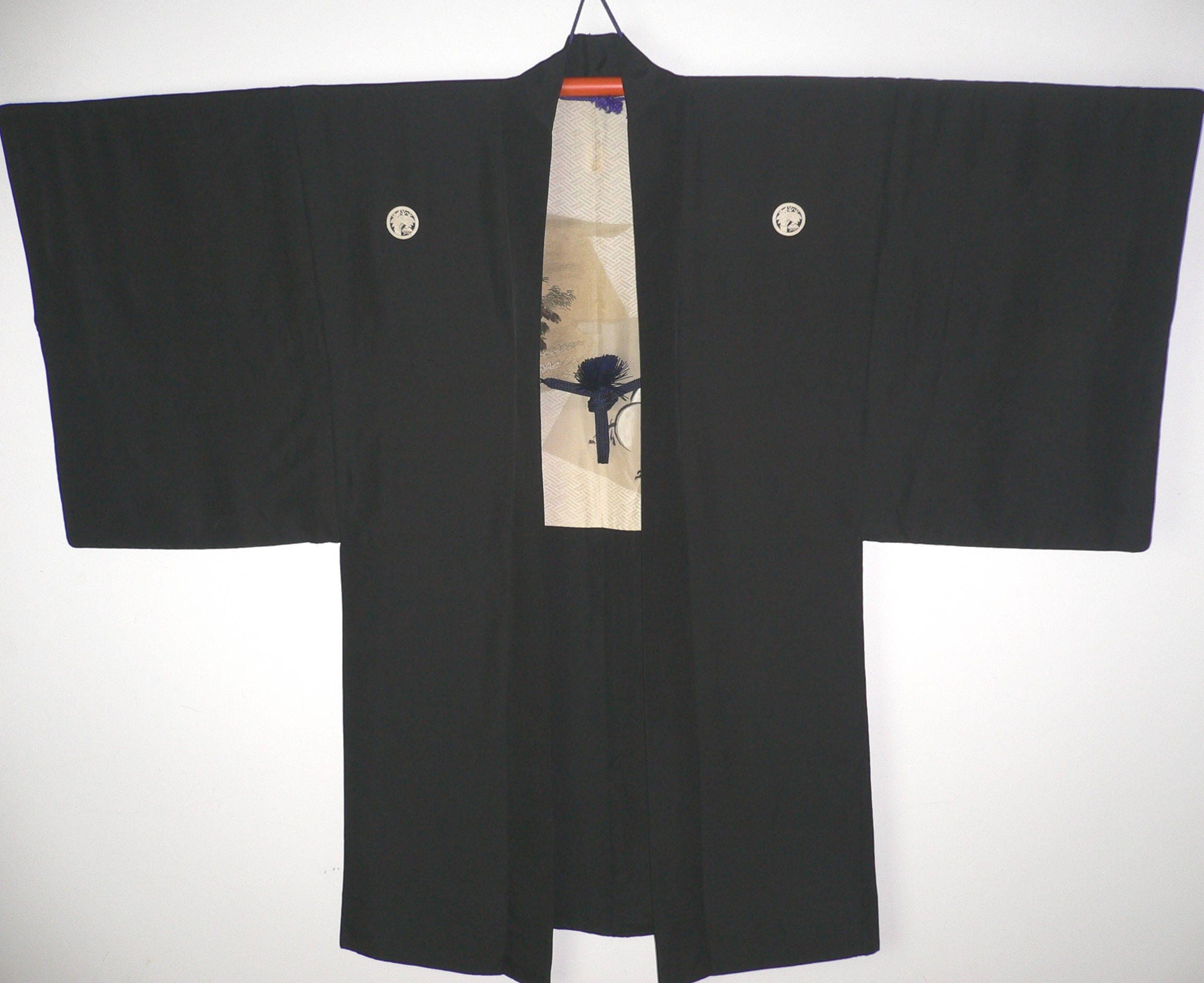 Rare Japanese Mens Black Silk Formal Haori Jacket Kimono with Artwork Lining showing Ema Wishing Plaques Horse Scenery  HImo Cords