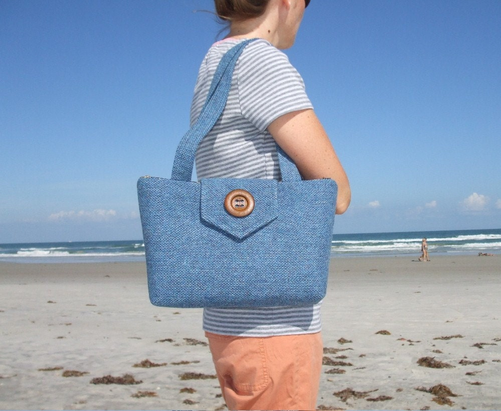 One of a Kind Harris Tweed Wayfarer Purse in Coastal Blue