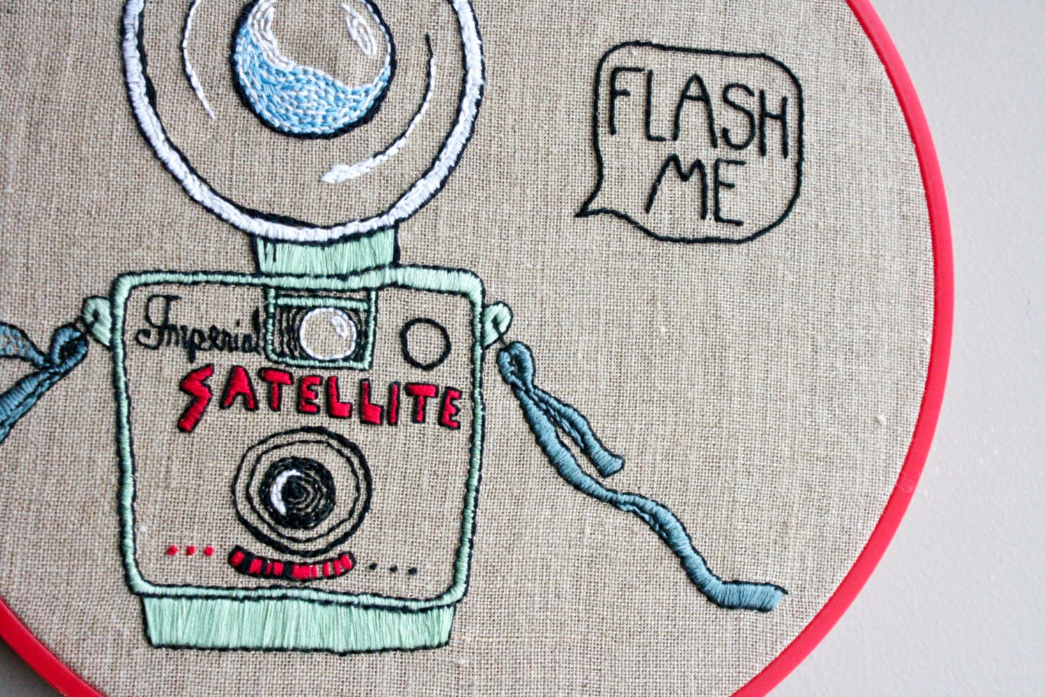 Vintage camera embroidery flash me funny by mumre on