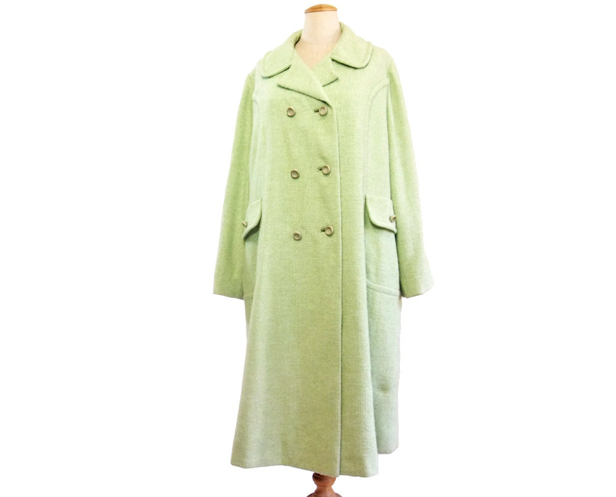 Vintage Wool Coat 1960s Green Boucle Princess by mysweetiepiepie from etsy.com